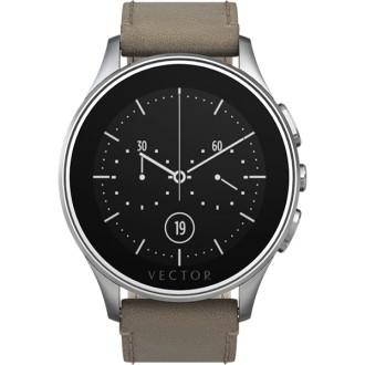 smartwatch luna  vector argintiu - curea piele bej - marime s