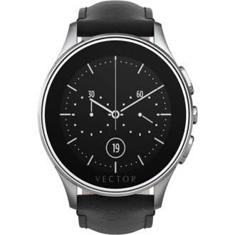 smartwatch luna  vector argintiu - curea piele neagra - marime standard