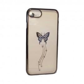 Capac Protectie Spate Cellara Colectia Fluture Si Pietre Pentru iPhone 7 - Negru