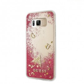 Capac Protectie Spate Guess Pentru Samsung S8 Colectia Liquid Glitter - Roz