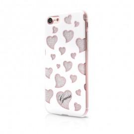 Capac Protectie Spate Guess Pentru iPhone 7 Colectia Hearts - Alb