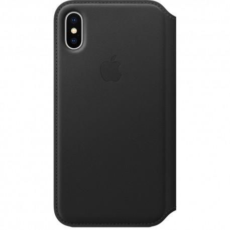 Book Apple Din Piele Pentru Iphone X - Negru