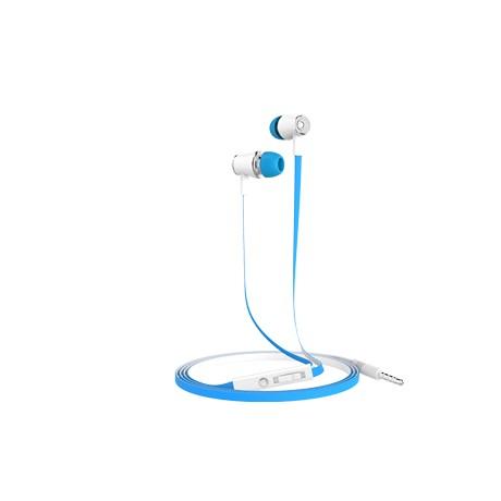 Casti stereo mobiama 3.5mm cu control volum si microfon - alb albastru