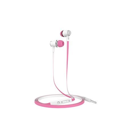 Casti stereo mobiama 3.5mm cu control volum si microfon - alb roz