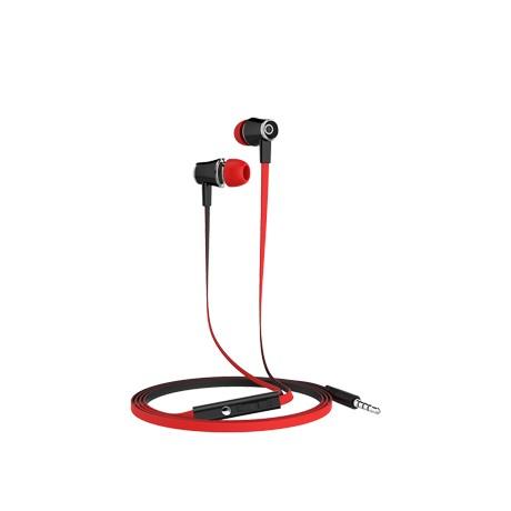 Casti stereo mobiama 3.5mm cu control volum si microfon - rosu negru