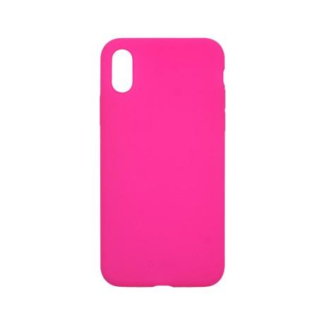 Capac protectie spate cellara din silicon colectia slim pentru iphone x/xs - fluorescent roz