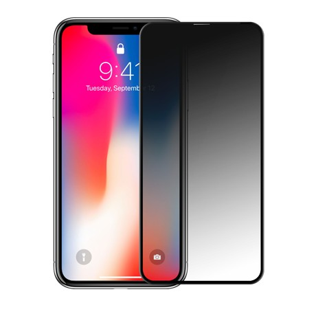Folie protectie ecran sticla 3d privacy cellara pentru iphone xs max/11 pro max - negru