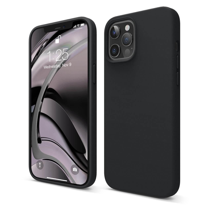 Capac protectie spate cellara din silicon colectia soft pentru iphone 12 pro max - negru
