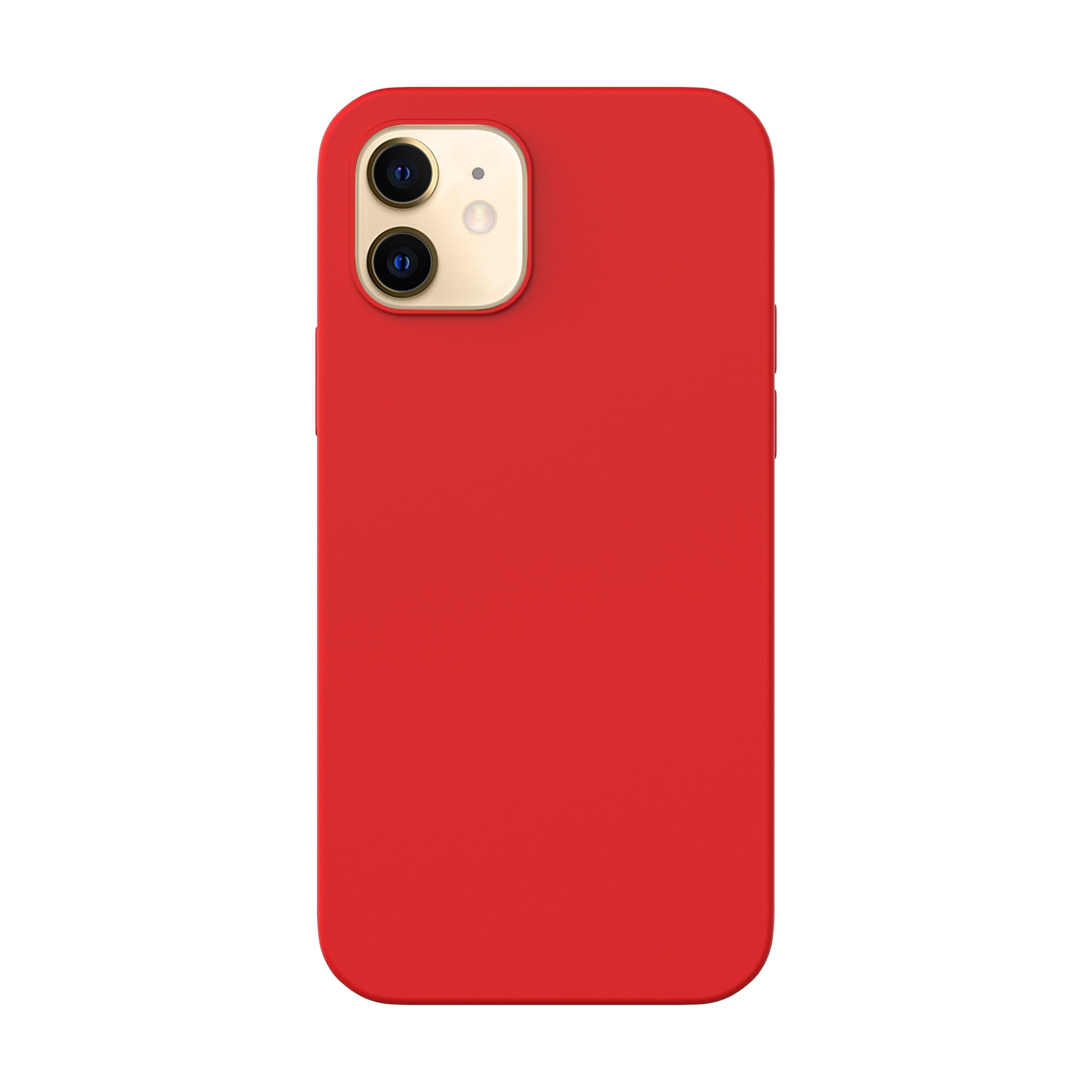 Capac protectie spate cellara din silicon colectia slim pentru iphone 12 mini - rosu