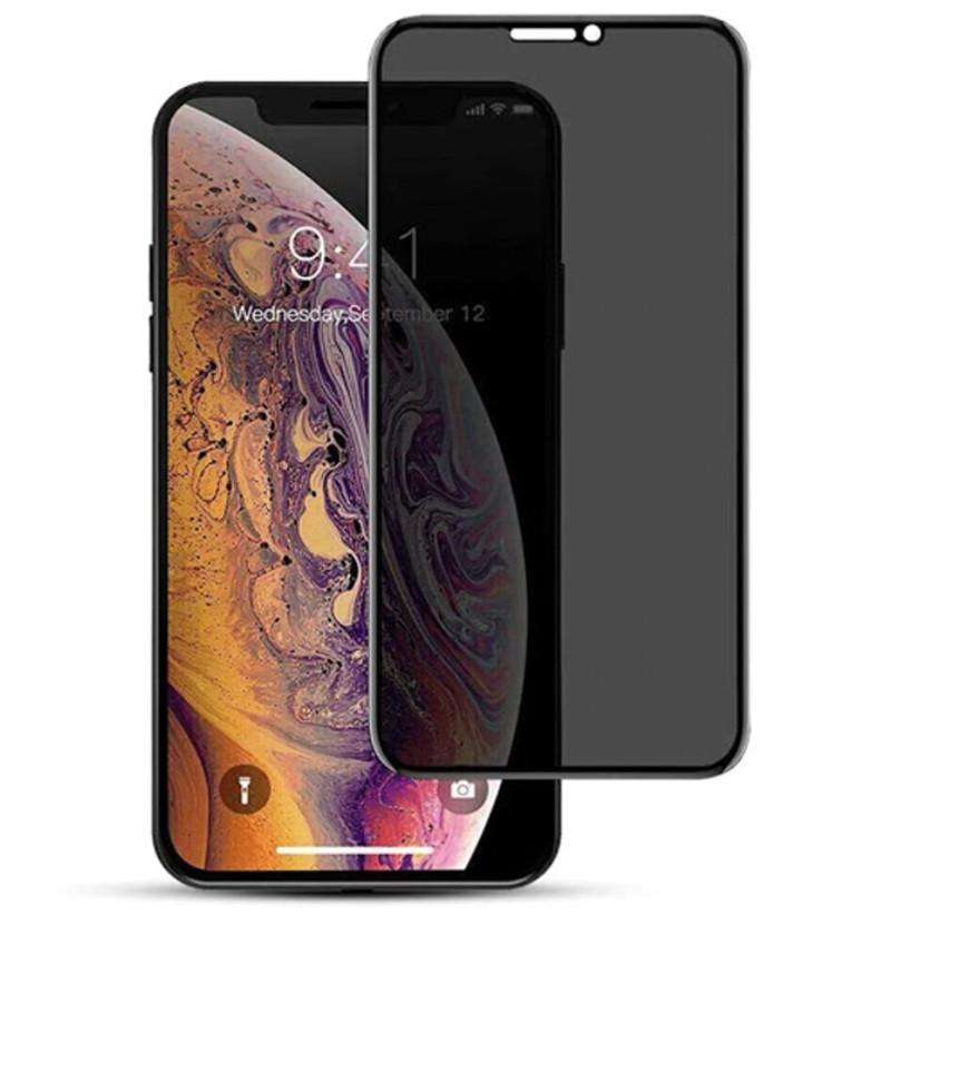 Folie protectie ecran sticla 3d privacy cellara pentru iphone 12 pro max - negru